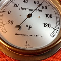 Abercrombie & Fitch Brass Cased Thermometer - Lufft - Made in Germany - Working - Very Nice