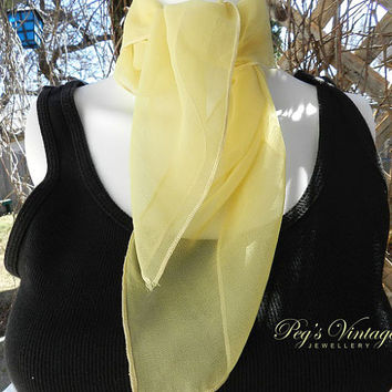 Vintage Monique Martin Sheer Yellow Scarf, Vintage Fashion Accessories