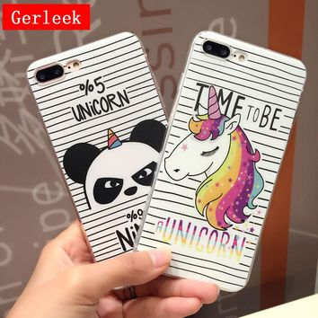 Gerleek Soft TPU Case For iphone X 5 5s SE 6 6s 7 8 Plus Phone Case Stripe Panda Unicorn Pattern Silicone Back Cover For iphoneX