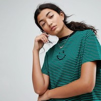 Lazy Oaf Oversized T-Shirt With Face In Stripe at asos.com
