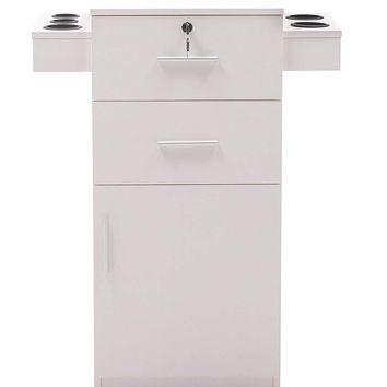 Locking Beauty Salon Storage Cart Hair Dryer Holder Stylist Equipment Drawer 2021 (White)
