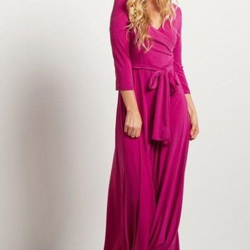 The Jonna Wrap Maxi Dress - FUCHSIA