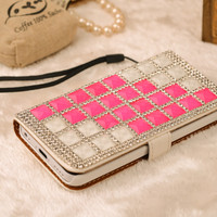 case for iphone 5c, handmade stud diamond leather case for iphone 5c cases woman man best gift