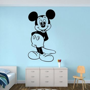 Mickey Mouse Wall Poster Cartoon Character Wall Sticker Nursery Decor Cute Mickey Mouse Wall Mural Removable Wallpaper AY1397