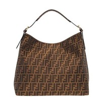 ONETOW Fendi Authentic Genuine Large Zucca Pattern Tobacco Brown Leather Borsa Hobo Bag