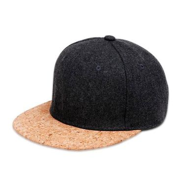 Cork Brim Snapback Hat Dark Gray