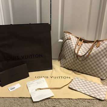 100% Authentic Louis Vuitton Neverfull GM Damier Azur Pre-Loved .. FREE SHIP!!