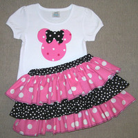 Pink Minnie Mouse outfit, all around ruffle diaper cover, baby bloomers, toddler ruffle skirt, sassy pants, size 18m-24m