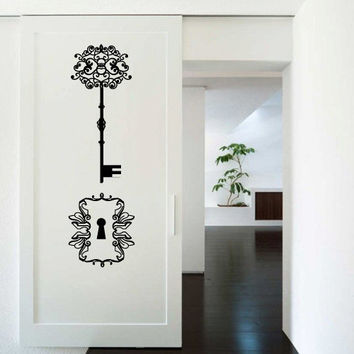 Wall Decor Vinyl Sticker Room Decal Key Clue Door Keyhole Ornament Modern Art Deco (s227)