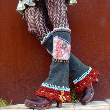 RESERVED //Boho Urban Chicks LEG Warmers Flared leg warmers cute POCKETS Owls Fall colors leg warmers Bell Bottoms eco friendly