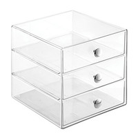 InterDesign 3 Drawer Storage Organizer for Cosmetics, Makeup, Beauty Products and Office Supplies, Clear