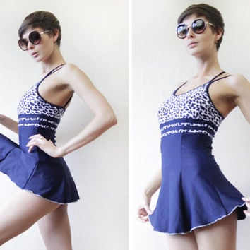 Retro blue white nautical skirt coverup one piece swimsuit S-M