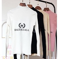 Balenciaga New Fashion Autumn And Winter Bust Letter Leaf Print Knit Slim Fit Long Sleeve Top Sweater White