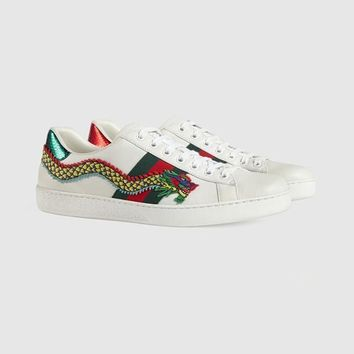 Gucci Ace Dragon Embroidered White Leather Low-top Sneaker