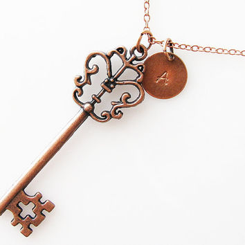 personalized necklace key necklace, bridesmaid gift, long necklace, rustic wedding, initial skeleton key necklace, antique copper necklace