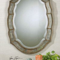 Vanity Mirror - Brass Victorian Looking Glass With Floral Mirrored Edges Brand Uttermost