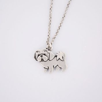 Cuddly Silver Shih Tzu Pendant Necklace *LIMITED SUPPLY*