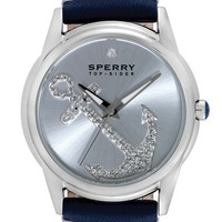 Women's Sperry 'Audrey' Pave Anchor Leather Strap Watch, 38mm - Blue/ Silver