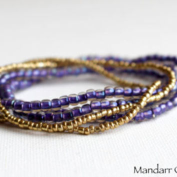 Seed Bead Stretch Bracelets, Set of Five, Purple and Gold Stretchy Jewelry, Gift for Her, Stacking, Stackable Accessory