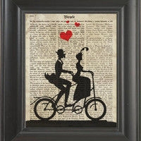 Couple in a bicycle -printed on  Bicycle history page. 250Gram paper.