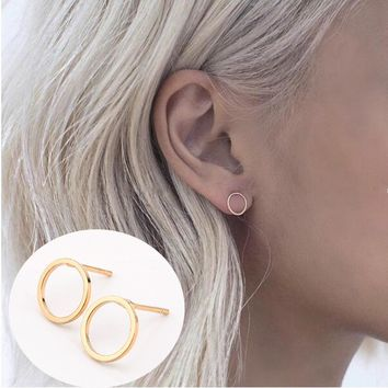 2 Pair Summer Style New Fashion Famous Gold Silver Black Round Circle Ear Stud Earrings For Women  jewelry