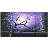 Modern Purple Tree Canvas Wall Art Oil Painting