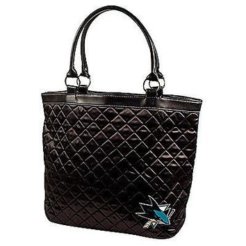 San Jose Sharks NHL Licensed Black Quilted Tote Bag