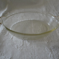 Vintage Pyrex Clear Oval Glass Scalloped Tab Handle Casserole Dish No Lid # 042