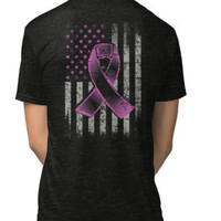 'Breast Cancer Awareness Ribbon American Flag T-Shirt' T-Shirt by callummurphy