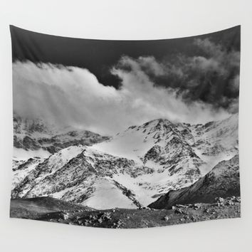 """Wild mountains"". Wilderness. Into the storm Wall Tapestry by Guido Montañés"