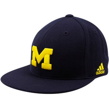 adidas Michigan Wolverines Navy Blue Basic Logo Fitted Hat