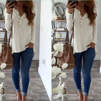 Women Fashion Long Sleeve V neck Casual Loose White T shirt Wzc5273