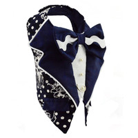 Navy Polka Dot Print Dog Harness Tuxedo Jacket