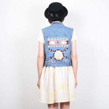 Vintage Custom Levis Denim Vest Blue Jean Jacket Southwestern Upcycled Patchwork Denim Jacket Grunge Vest Cow Scull Western Top M Medium