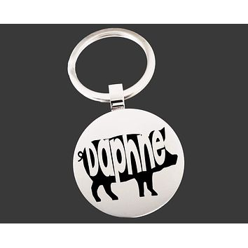 Pig Keychain   Pig Key Chain   Pig Lover Gifts