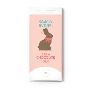 Save a Bunny, Eat a Chocolate Bar Chocolate Sea Salt Caramel Dark Chocolate