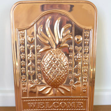 Tin lined copper pineapple welcome plaque, copper mold