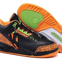 Cheap Nike Air Jordan 3 Retro Men Shoes Black Orange Green