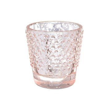 "Rose Gold Mercury Glass Hobnail Votive Cup - 2.75"" Tall"