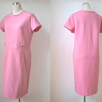 60's Crimplene Dress - Cute Pastel Pink Vintage Dress With Short Sleeves & Button Detail - Size L
