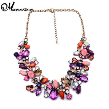 2014 New Box Gomestry Resin ZA Shourouk Crystal Exaggerated Big Flower Necklace Retro Clavicle Chain Jewelry 9589