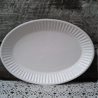 "PLAIN WHITE Stoneware Platter, Oval, 15"", ""CERIART"", Glazed White, Made in Portugal"