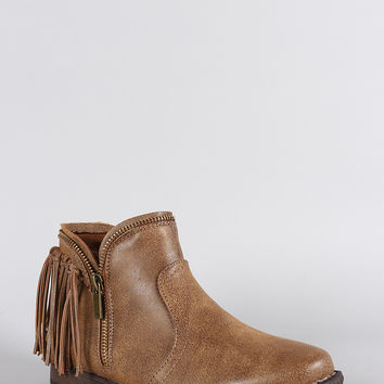 Dollhouse Fringe Zipper Trim Western Flat Booties