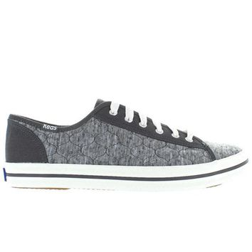 ONETOW Keds Kickstart - Charcoal Quilted Jersey Lace-Up Sneaker