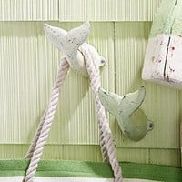 Oversized Whale Tail Wall Hooks - Set of 2 - Antique Weathered Hangers for Coats, Aprons, Hats, Towels, Pot Holders - White and Sea Foam