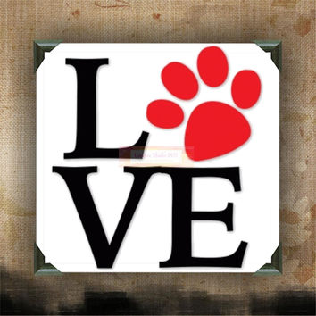 "LOVE paw print | decorated canvas | wall hanging | wall decor | inspirational quote on canvas | 12"" x 12"""