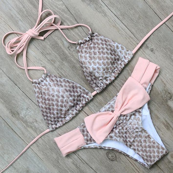 Pink Bikinis Set Bow Swimwear Women Swimsuits