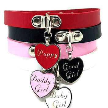 BDSM DDLG Custom Personalized Heart Bondage Day Collar or Pet Play Choker Made on Faux Vegan Leather Slave Owned Pet Brat Whore Sissy Kitten