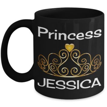 Princess Jessica Mug Gift - Cute Name Personalization For Girl - Holiday Stocking Stuffer for Cocoa!