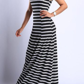 Black-White Striped Draped Round Neck Sleeveless Maxi Dress